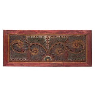 Red & Green Carved Wood Panel For Sale