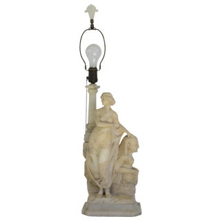 Carved Alabaster Table Lamp For Sale