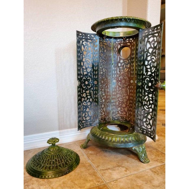 Decorative French Art Nouveau Enameled Cast Iron Antique Parlor Heater Stove For Sale In Dallas - Image 6 of 11