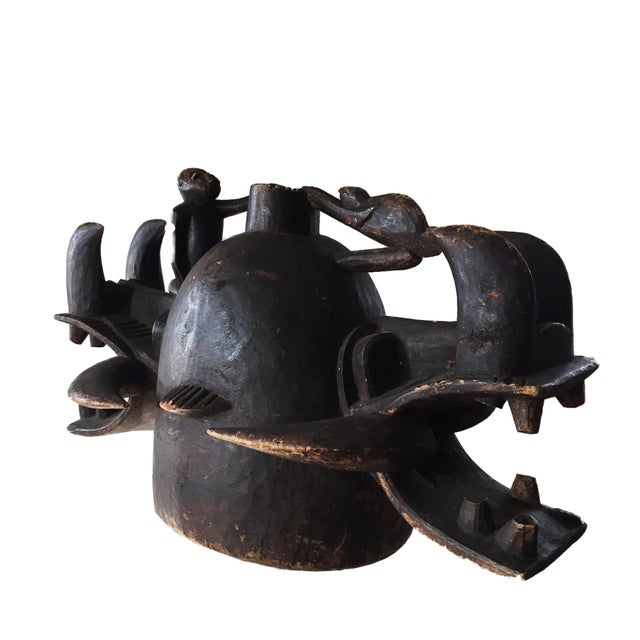 "Rare Old Senufo African Fire Spitter Mask Wanyugo Cote d'Ivoire 23"" H For Sale In New York - Image 6 of 13"