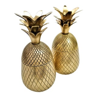 Vintage Solid Brass Pineapple Keepsake Boxes- a Pair For Sale