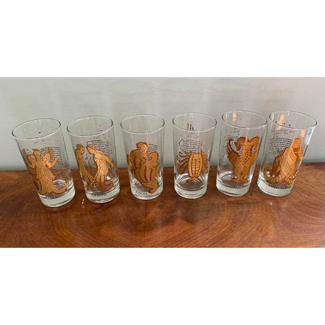 Vintage Zodiac Tall Glasses - Set of 6 For Sale - Image 9 of 10