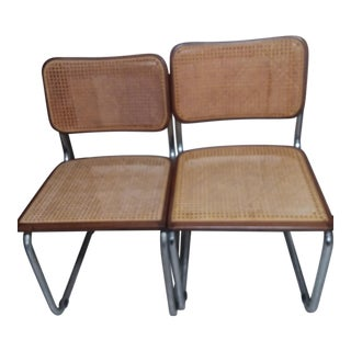 Marcel Breuer Chrome Tubular Caned Dining Chairs - A Pair For Sale