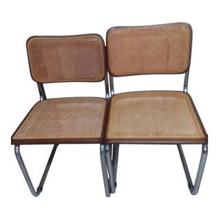 Marcel Breuer Chrome Tubular Caned Dining Chairs - A Pair