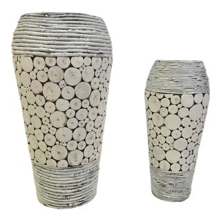 White Wooden Vase or Umbrella Stand - a Pair For Sale