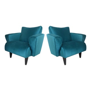 Thayer Coggin Club Chairs in Velvet - a Pair For Sale