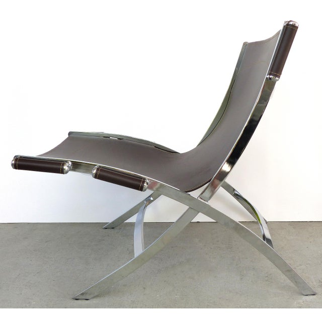 Flexform Paul Tuttle, Antonio Citterio for Flexform Italia Scissor Chairs in Stainless Steel & Leather-A Pair For Sale - Image 4 of 13