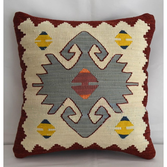 Turkish Hand Woven Silk Pillow Cover. Throw Pillow Sham - 15″ X 15″ For Sale In Raleigh - Image 6 of 6
