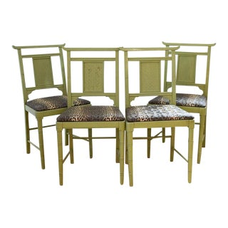 20th Century Chinoiserie Green Dining Chairs - Set of 4 For Sale