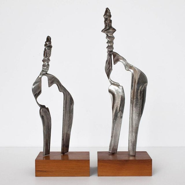 Brutalist Set Two Cast Aluminum Modernist Abstract Sculptures For Sale - Image 3 of 11