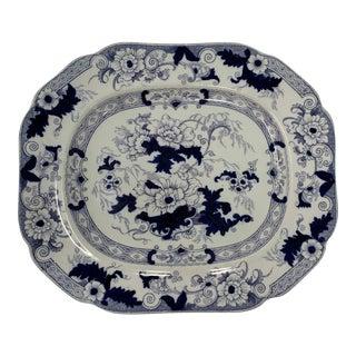 19th Century Cauldon England Flow Blue Platter For Sale