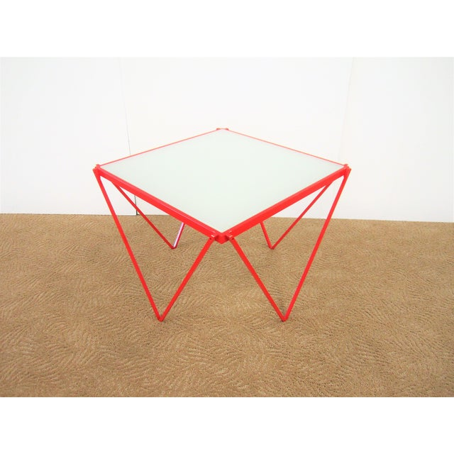 20th Century Modern Red Enamel Side Table For Sale - Image 12 of 13