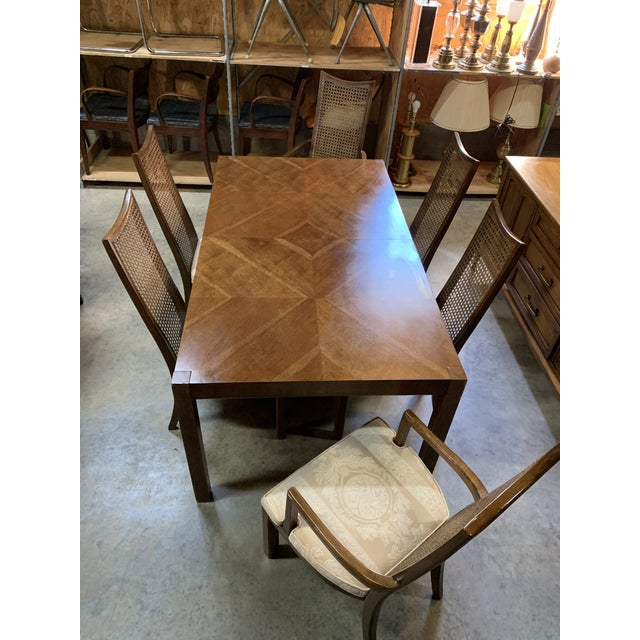 Beautiful Milo Baughman inspired diamond parquet dining table and set of 6 high can back chairs by American of...