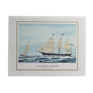 Nautical Horizontal Blue Seascape Print of Sailboats and Ocean Pan Am Airline 1960s For Sale