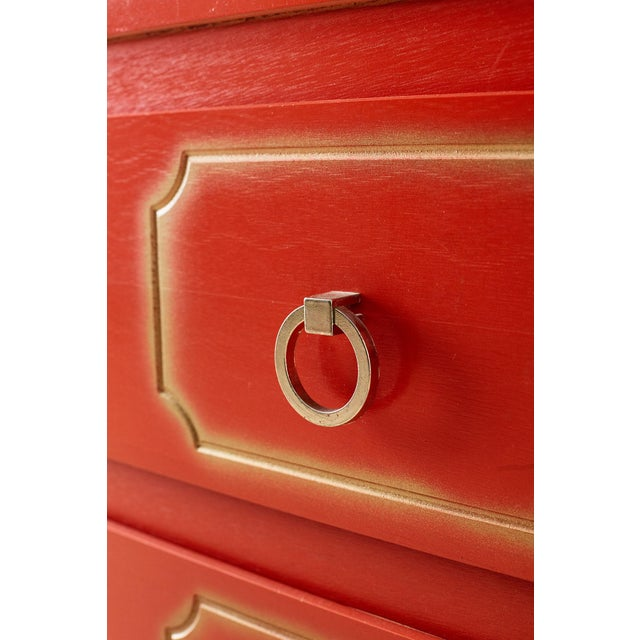 Dorothy Draper Style Coral Red Commode or Chest For Sale - Image 9 of 13