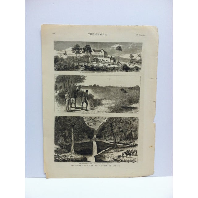 "1878 Antique ""Sketches From the West Coast of Africa"" The Graphic News Print For Sale - Image 4 of 4"