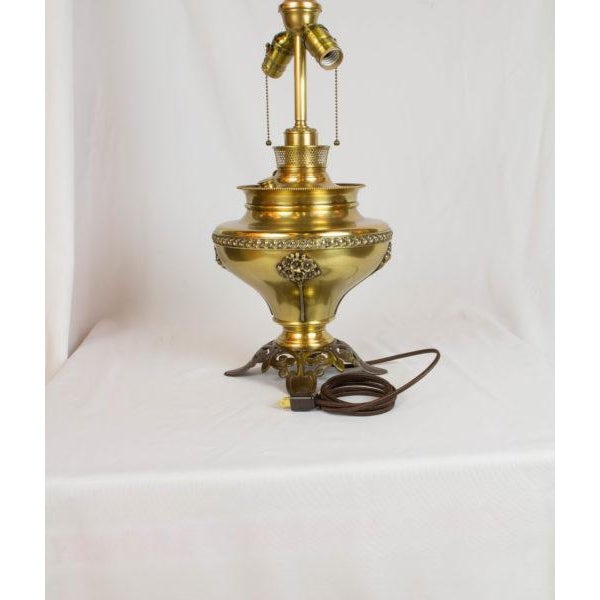 Brass and Cast Iron Converted Oil Lamp. Two Light Cluster. Completely rewired and restored. 20″ high without shade.