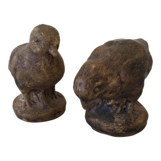 Clay Bird Figurines - A Pair For Sale
