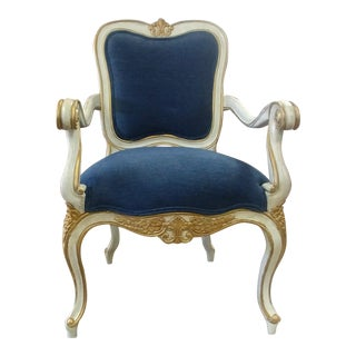 Henredon Furniture Venetian Weathered White With Gold Accents Arm Chair For Sale