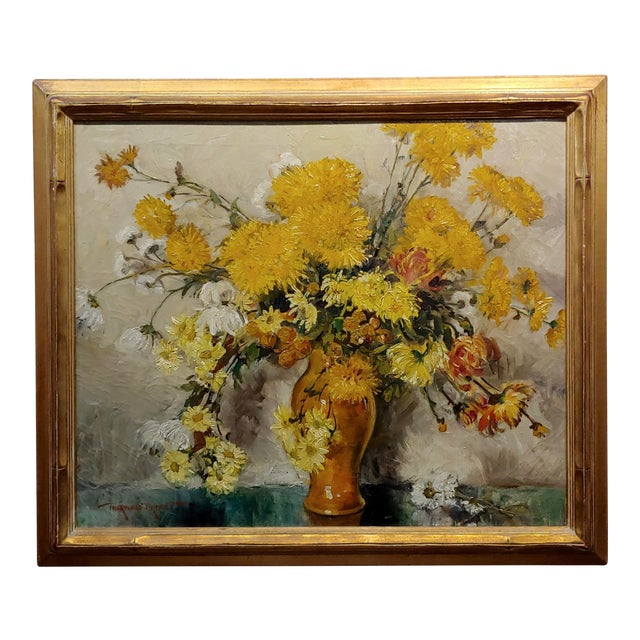 "Thorwald Albert Probst ""Flowers of Fall"" Still Life Oil Panting C.1910s For Sale"