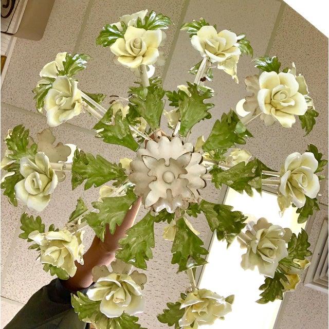 Italian 1940s Italian Porcelain Floral Vintage Toile Chandelier For Sale - Image 3 of 12