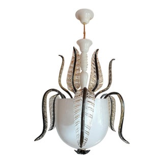Large White Murano Glass Chandelier/Lantern, Mid Century Modern, Italy 1970s