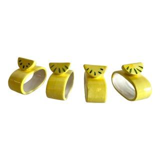 Vintage Lemon Ceramic Napkin Rings - Set of 4 For Sale