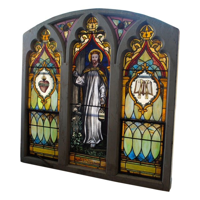 Antique Stained Glass Church Window - Image 1 of 8