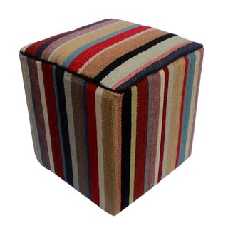 Arshs Donnell Red/Brown Kilim Upholstered Handmade Ottoman For Sale