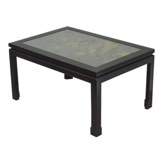 Chinoiserie Painted Black & Gold Asian Style Coffee Table For Sale