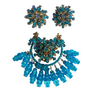 Vintage Miriam Haskell Brooch and Earrings For Sale