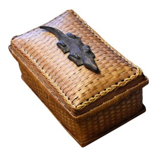 Vintage Crocodile Embellishment on Rattan Basket