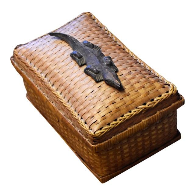 Vintage Crocodile Embellishment on Rattan Basket - Image 1 of 5