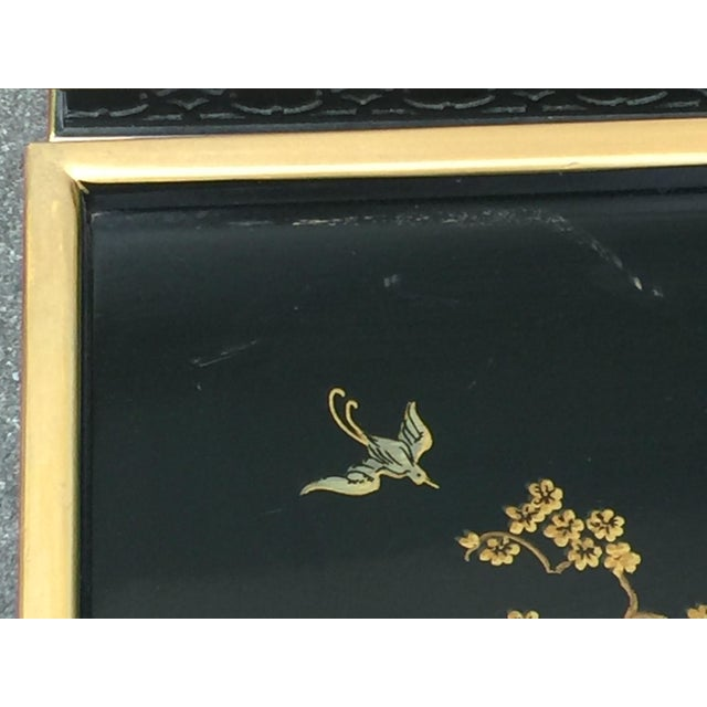 Metal Drexel Sketchbook Chinoiserie Style Black and Gold Lacquer End Tables - a Pair For Sale - Image 7 of 10