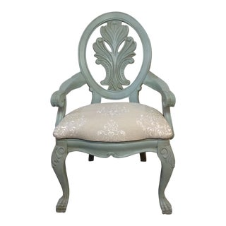 French Provincial Egg Blue Mahogany Painted Chairs - Set of 4