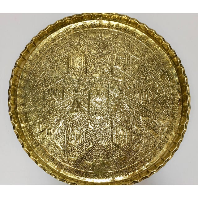 Large Handcrafted Decorative Indo-Persian Hammered Brass Tray For Sale - Image 13 of 13