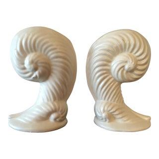 Haeger Nautilus Cream Vases - a Pair