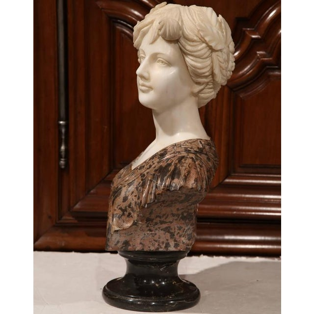 Large 19th Century Italian Carved Marble Bust of Young Lady by Goose For Sale - Image 5 of 7
