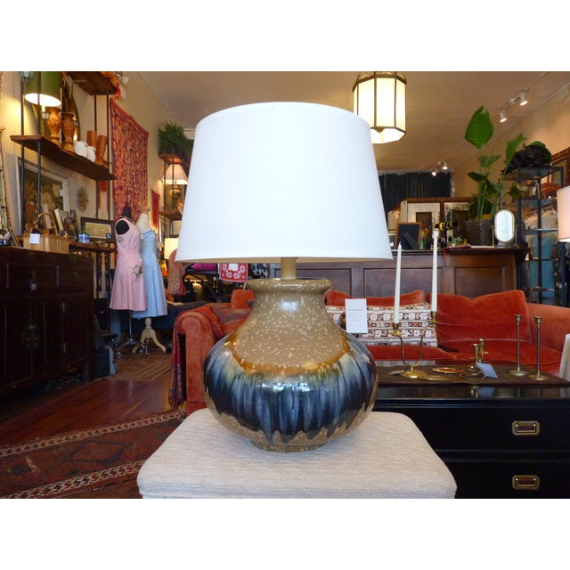 Blue and Tan Drip Glaze Table Lamp - Image 2 of 8