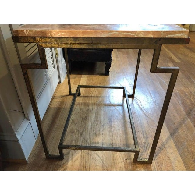 Art Deco Art Deco Style Gilt Metal and Fossilized Limestone Side Table For Sale - Image 3 of 6