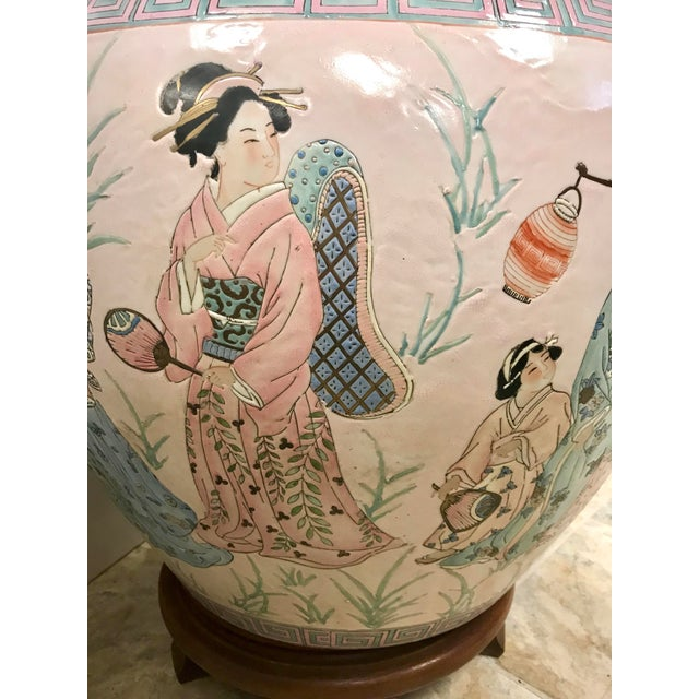 Asian Chinese Pink Porcelain Fishbowl Urn Planter on Stand For Sale - Image 3 of 7