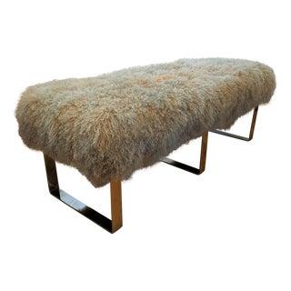 Modern Tibetan Sheepskin & Chrome Bench For Sale