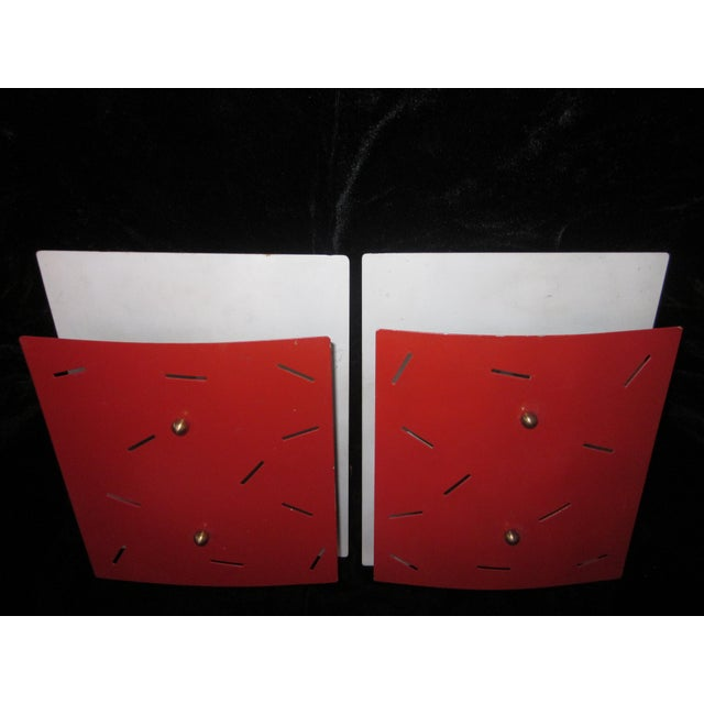 1970s 1970s Vintage Memphis Style Shade Wall Sconces - A Pair For Sale - Image 5 of 9