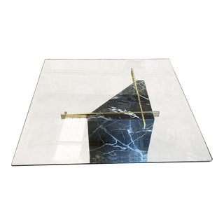 1970s Geometric Marble, Brass & Glass Coffee Table** For Sale