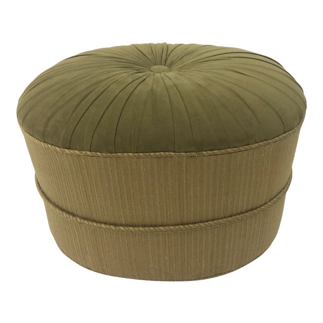 1990s Vintage Schnazzy Oval Ultrasuede Ottoman Pouf For Sale