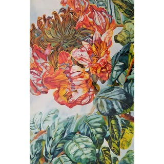 Art Museum Quality Watercolor Painting by Patricia Tobacco Forrester-Signed-Botanical Organic Modern Tropical Coastal Boho Palm Beach Flowers Floral For Sale