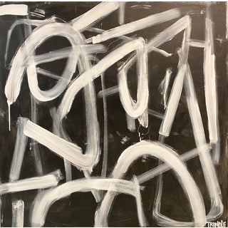 """""""Thats the Way That the World Goes Round"""" Contemporary Abstract Black and White Acrylic Painting by Sarah Trundle For Sale"""