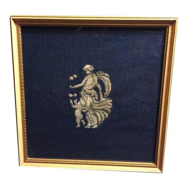 Framed Neoclassical Needlepoint Greek Goddess & Cupid on a Navy Background For Sale