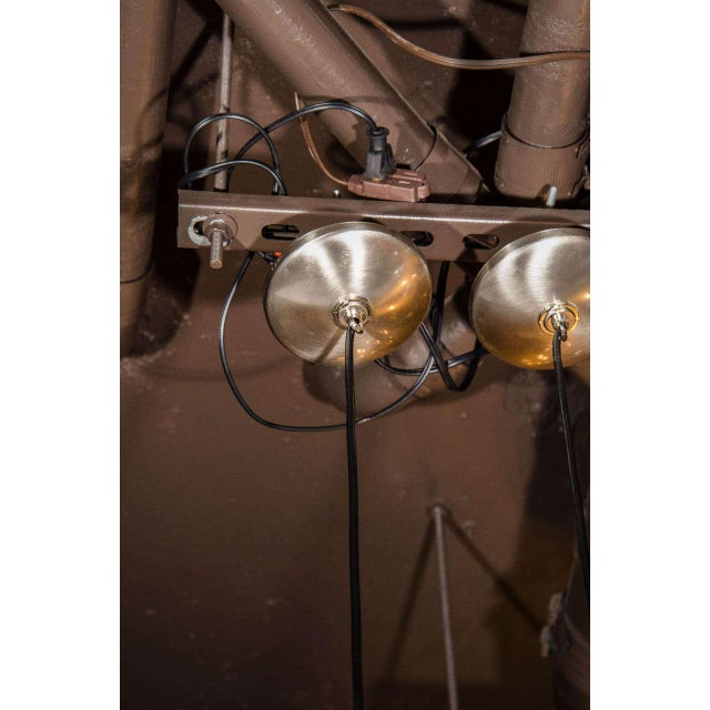 Pair of French Mid-Century Modern Geometric Chrome Pendants Lights For Sale In New York - Image 6 of 7