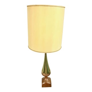 Tony Paul for Westwood Studios Mid-Century Brass & Walnut Table Lamp For Sale